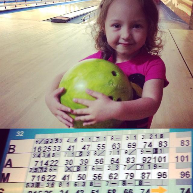 My baby girl broke 100! #bowling