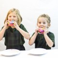 Kids eating rainbow bread