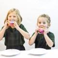 Kids eating rainbow bread